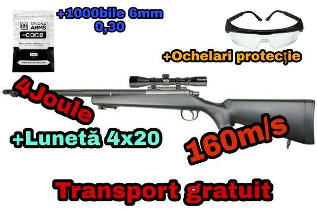 4 ACCESORII+Pusca Sniper Vanatoare Luneta Airsoft Carabina nou