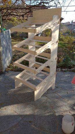 дървени стелажи / дисплеи за зеленчуци