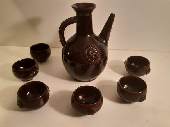 Стар керамичен сет за ракия (кана + 6 чашки)