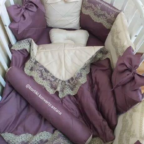 Бортики, конверты, простыни на резинке. Кроватка. Люлька. Кровать