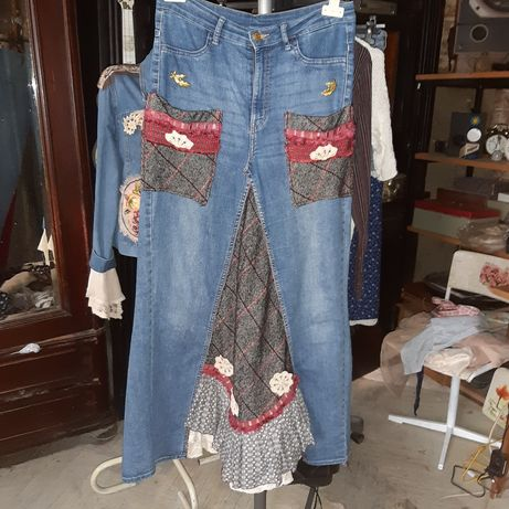 Fusta unicat altered couture upcycle stil boho hippie 46