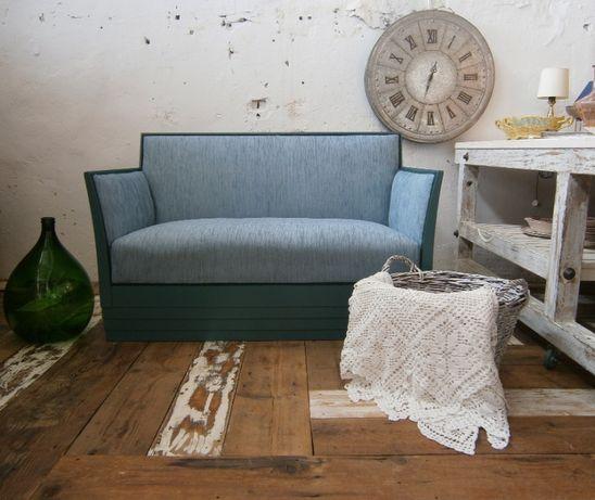 Canapea veche din lemn, stil Art Deco, reconditionata (Mobila/Divan)