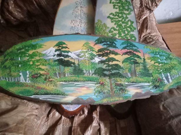 Картины крошками на дереве