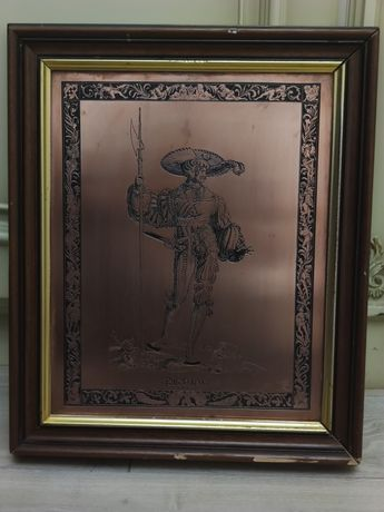 Tablou gravura (pirogravura) pe bronz. Rama lemn. Muschetar