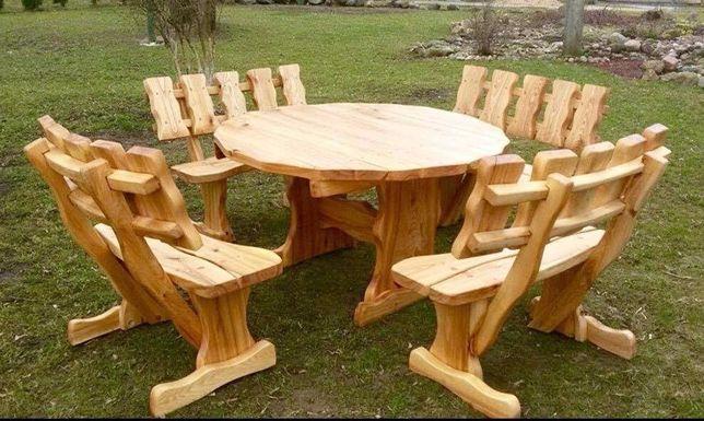 Set masa rustica lemn masiv + 4 canapele