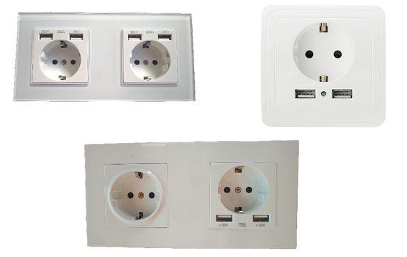Мултифункционални стенни контакти с вградено зарядно (2-4 USB) порта