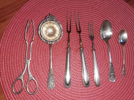 Infuzor ceai argint vechi 800 furculite argint 800 cleste vechi zahar