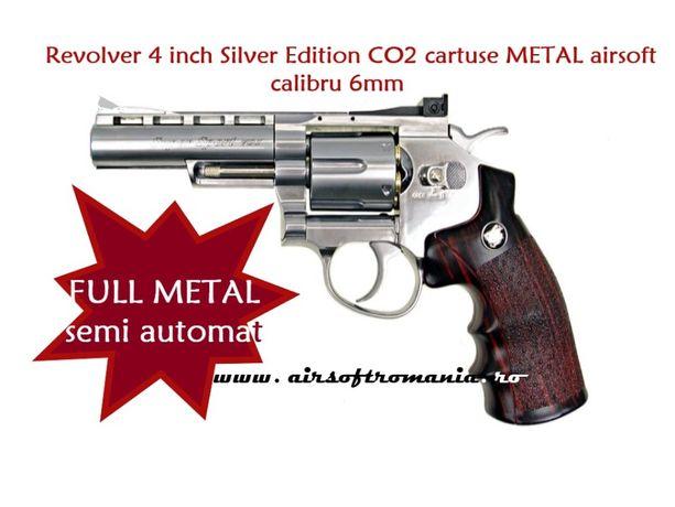 REVOLVER airsoft WinGun 4 inch Silver Edition CO2 cartuse METAL