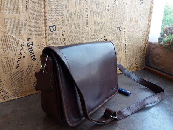 кафява чанта с голям капак-естествена кожа