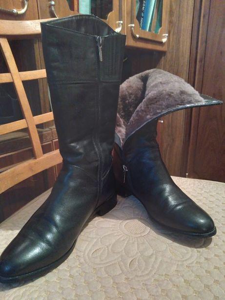 Сапоги женские зимние кожаные с натуральным мехом 38 размер