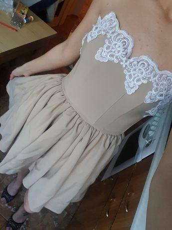 Официална рокля къса от пред, дълга отзад , бежова с бяла дантела