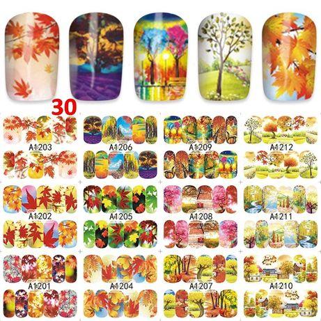 12 в 1 водни стикери за маникюр - есен, пеперуди, цветя