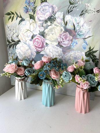 Кашпо вазы с цветами в интерьер 3 штуки