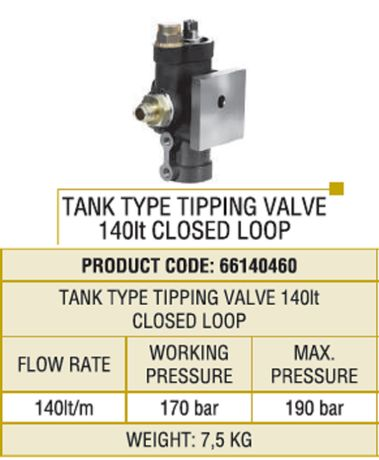 Distribuitor tip bazin ulei hidraulic pentru basculare camioane Supapa