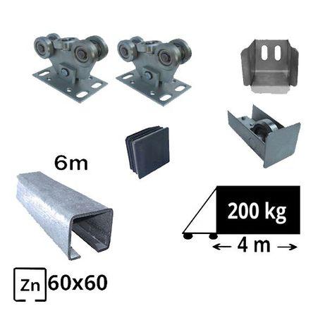 Kit SAP-60x60-Zn Sistem autoportant cu sina zincata pentru deschidere