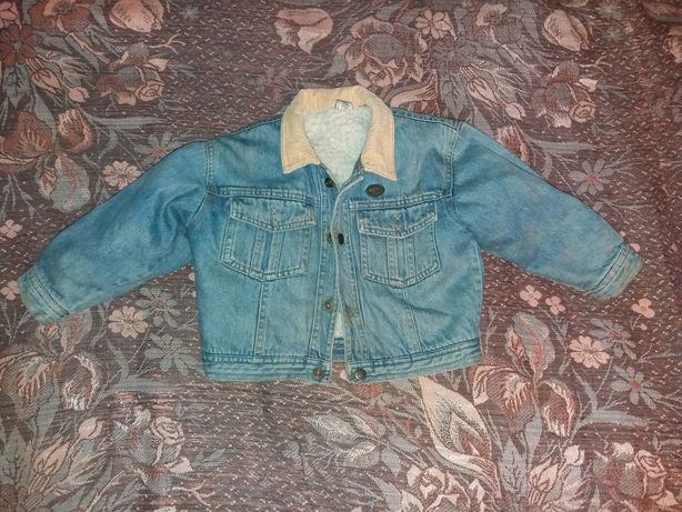Джинсовая куртка с мехом на кнопочках 1 - 2 годика