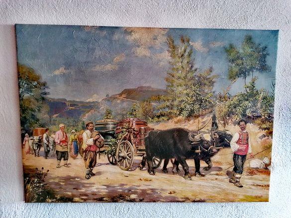 Картина- Българска Репродукция Връщане от Гроздобер и на Чешмата