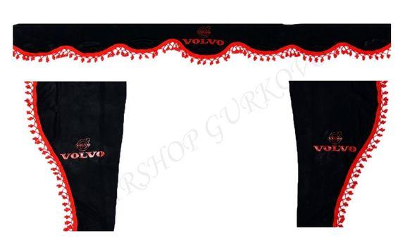 Черни пердета с червени пискюли и лого