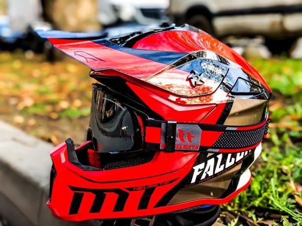Casca Moto MT Falcon Warrior Rosu/Negru/Cross/Enduro/Mx