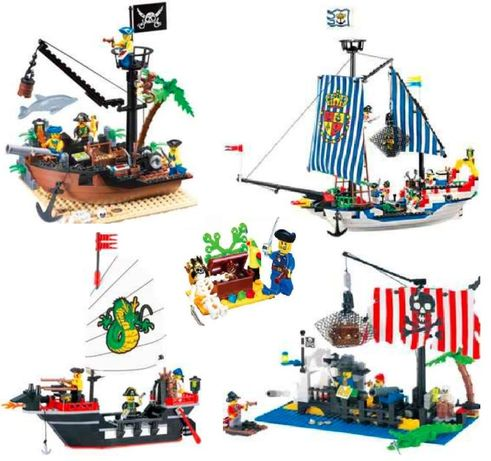 конструктор тип Lego пиратска серия кораби лодки остров подарък деца