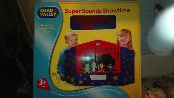 Играчки детско дървено влакче,дартс,куклен театър внос от Англия
