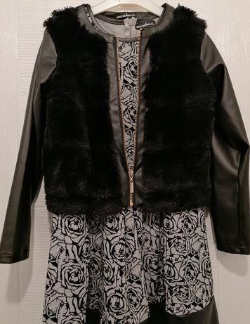 Комлект детска рокля с кожено яке
