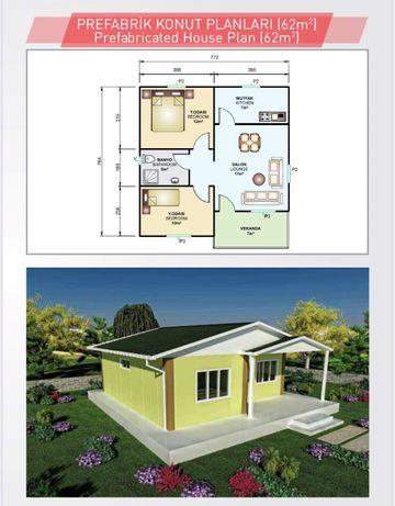 62 кв.м. Сглобяеми къщи Транспорт+Монтаж Производител от Турция