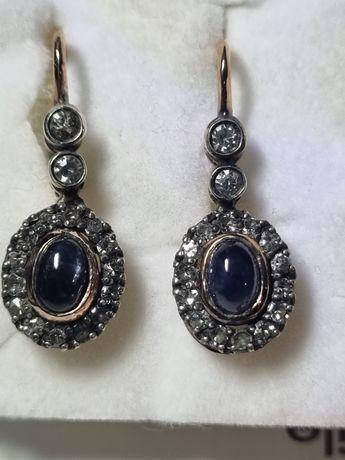Cercei anturaj anii 50 cu safir natural caboson si diamante naturale