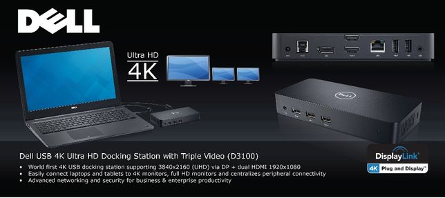 DOCKING STATION Dell D3100 Triple Video USB 3.0 Video 4K