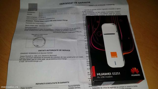 Huawei E3251 USB modem H+ 43.2Mbps,sigilat,NEcodat,fact+gar2ani Orange