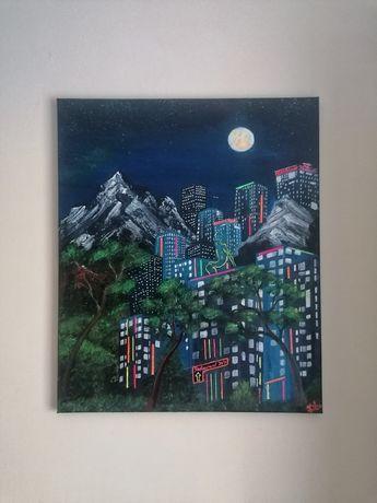 Dark City pictura acrilica fluorescenta