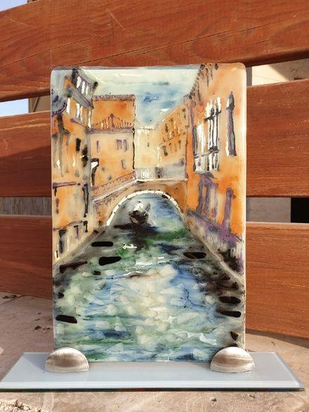 """Картина рисувана върху стъкло """"Венеция """""""