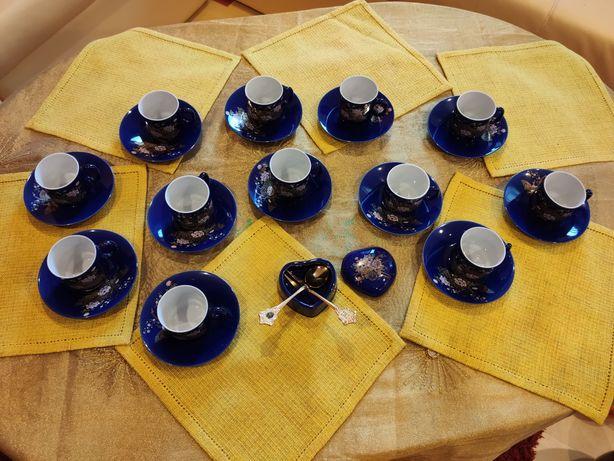 Set porțelan cobalt aur coloidal ceai cafea