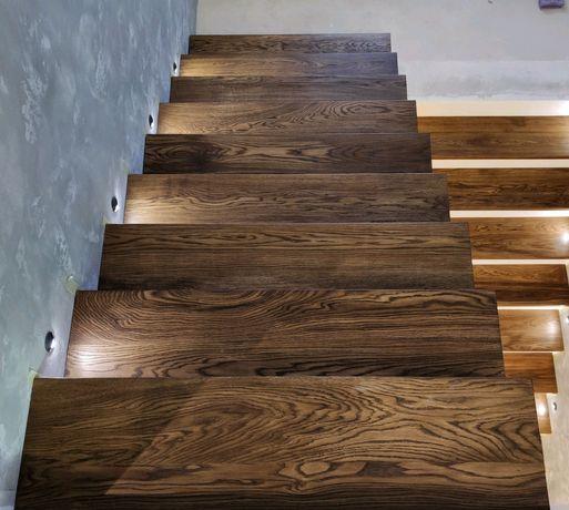 Деревянная лестница, ступени из массива
