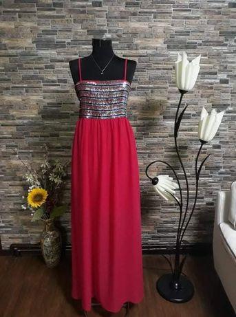 Rochie lungă Gaudi 40, roz fucsia, cu paiete