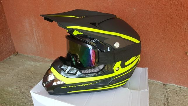 Set Casca+Ochelari+Manusi+Cagula cross/atv/enduro/downhill NOI