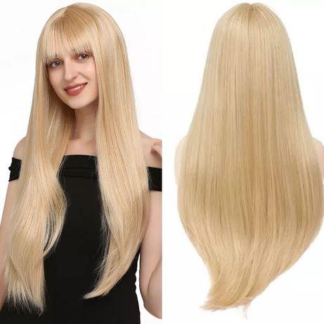 Peruca R110 Blonda Breton mijloc Lunga par lung dreapta blond auriu