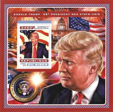 Super timbre colita nestampilata tematica Donald Trump