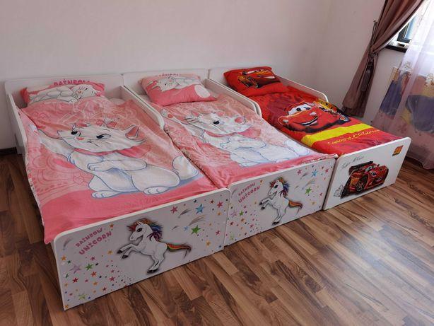 Pat copii Unicorn/Fulger McQueen 2-12 ani cu sertar si saltea inclusa
