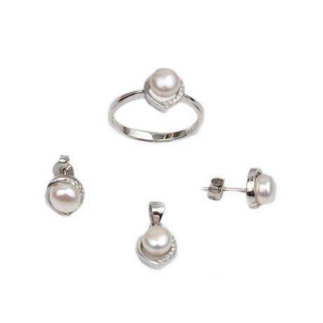 Set argint cu zirconiu si perle - DA213 - Transport Gratuit Curier