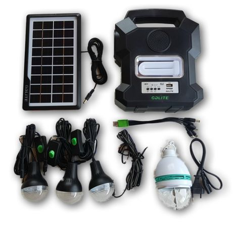 Kit Panou solar fotovoltaic 4 becuri incarcare telefon BLUETOOTH radio