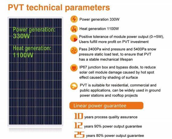 Panou solar hibrid PVT fotovoltaic poly + panou solar termic 330W