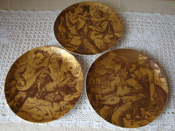 Сет от три чинии за стена или поставка от Бавария