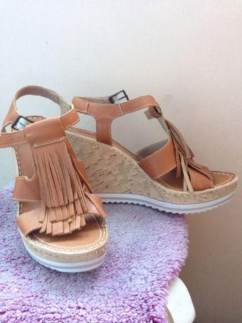 Нови дамски сандали на платформа естествена кожа!