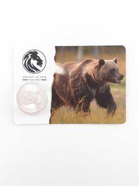 Moneda argint 999 lingou + blister card , Grizzly 2019, 31 grame