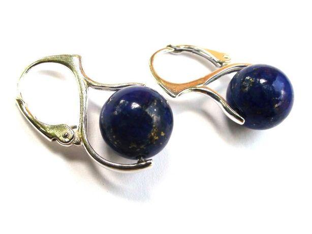 Cercei albastri casual din Lapis lazuli si argint 925, cercei delicati
