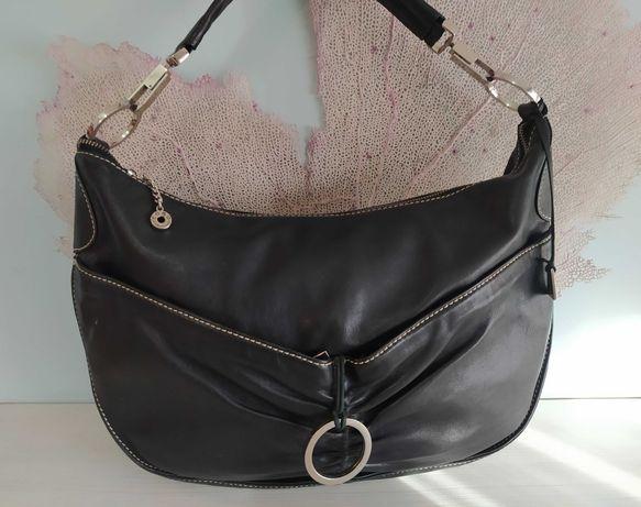 Черна кожена чанта COBO®, Made in Italy