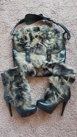 Ботуши и чанта естествена кожа и  пух на лисица DARIS