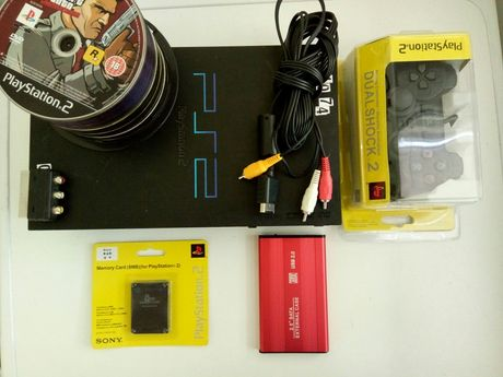 Плейстейшън 2 PS2 пълен комплект с нов джойстик и 50 игри хард диск