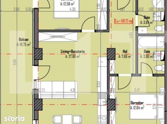 Apartament de 3 camere, 69 mp utili, 20 mp terasa, Someseni